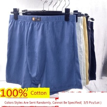 5pcs/Lot 6XL Men'S Underwear Men'S Boxer Pants 100% Cotton Mid waist high waist Loose And Comfortable  Fatty Pants Underwear Men