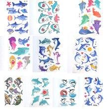 Временные татуировки мультфильм макияж, боди-арт акула дети стикер водонепроницаемый поддельные татуировки ноги руки дети 10 шт