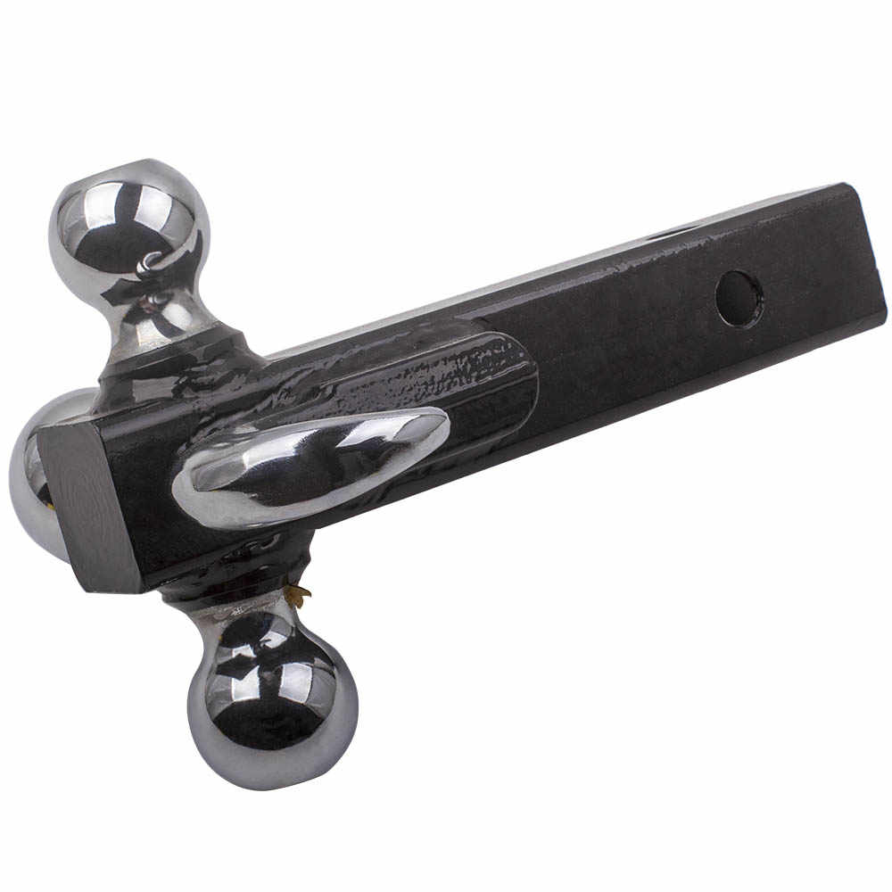 "Triple Tri 3 Bola Trailer Hitch W/Hook Receiver Mount 1 7/8 ""2"" 2 5/16 ""Towing 4"" Tow Hook"