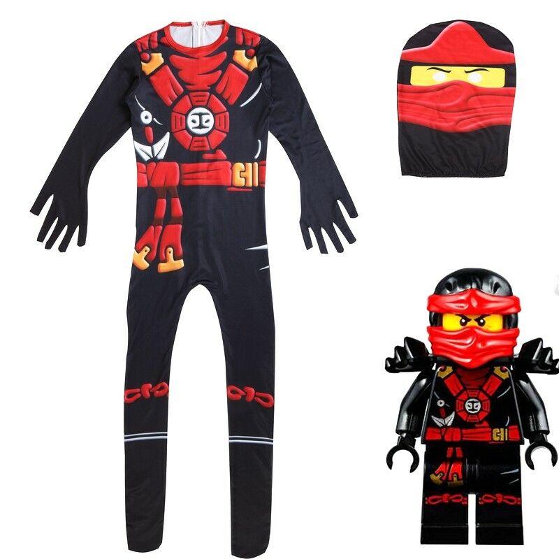 Kids Ninjago Party Costumes Boy Girls Halloween Cosplay Jumpsuits Ninja Superhero Suit Children Carnival Purim Clothes Set 3