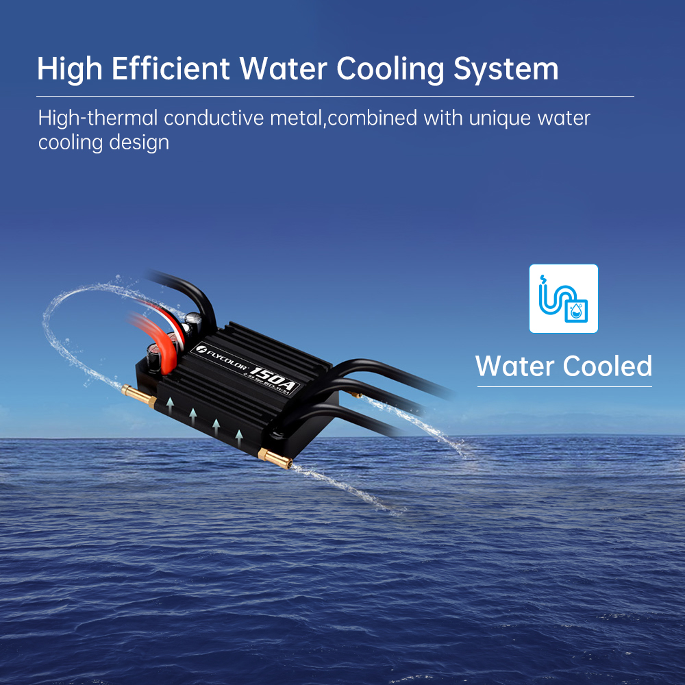 FlyColor FlyMonster 50A/70A/90A/120A/150A 2-6S Waterproof Brushless ESC Two-way ESC Water-cooled Spare Parts RC Boat Model