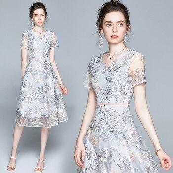 Simgent Embroidery Dress Summer Fashion Womens Short Sleeve Floral Midi A Line Casual Elegant Vestidos Robe Femme SG005141