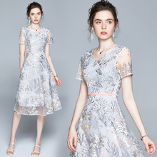 Simgent Embroidery Dress Summer Fashion Womens Short Sleeve