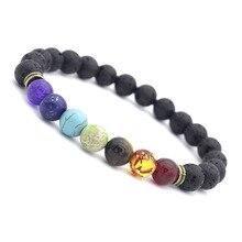 Seven colors Bead Bracelets for Men Woman Black Lava Stone Elastic Charm Hand Jewelry gift DropShipping