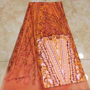 Wholesale price orange tulle lace fabric French net lace fabric with sequins PAN193(5yards/lot) many color
