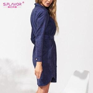 Image 5 - S.FLAVOR vestido Vintage de manga larga para otoño e invierno, camisa terciopelo para mujer, elegante, liso hasta la rodilla