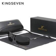 KINGSEVEN NEW Upgrade Fashion Men's Aluminum Sunglasses Polarized Rimless Simple Design Driving Sun Glasses Brand Men UV400