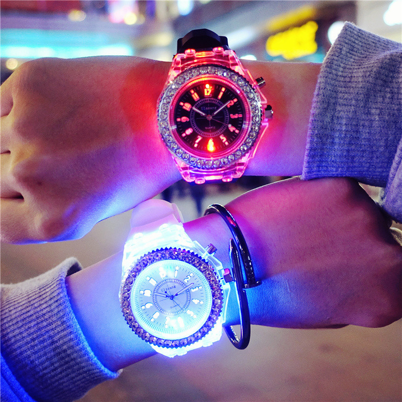 Luminous Night Club Fashion Couple Watch Shine Light Male Female Quartz Clock Super Cool Hip Hop Must Bucket Dance Watches Gift