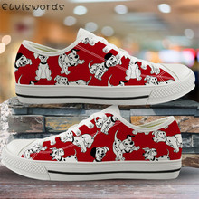 ELVISWORDS Flats Dalmatian Dog Print Red Canvas Shoes Women Leisure Vul