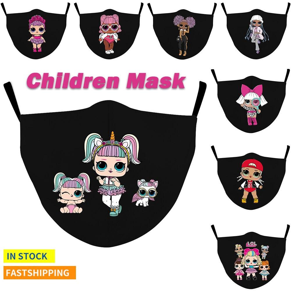 Многоразовая маска ребенка маски для лица с изящным «кукольным» с принтом в виде маски моющиеся тканевые маски для детей маска для полости ...