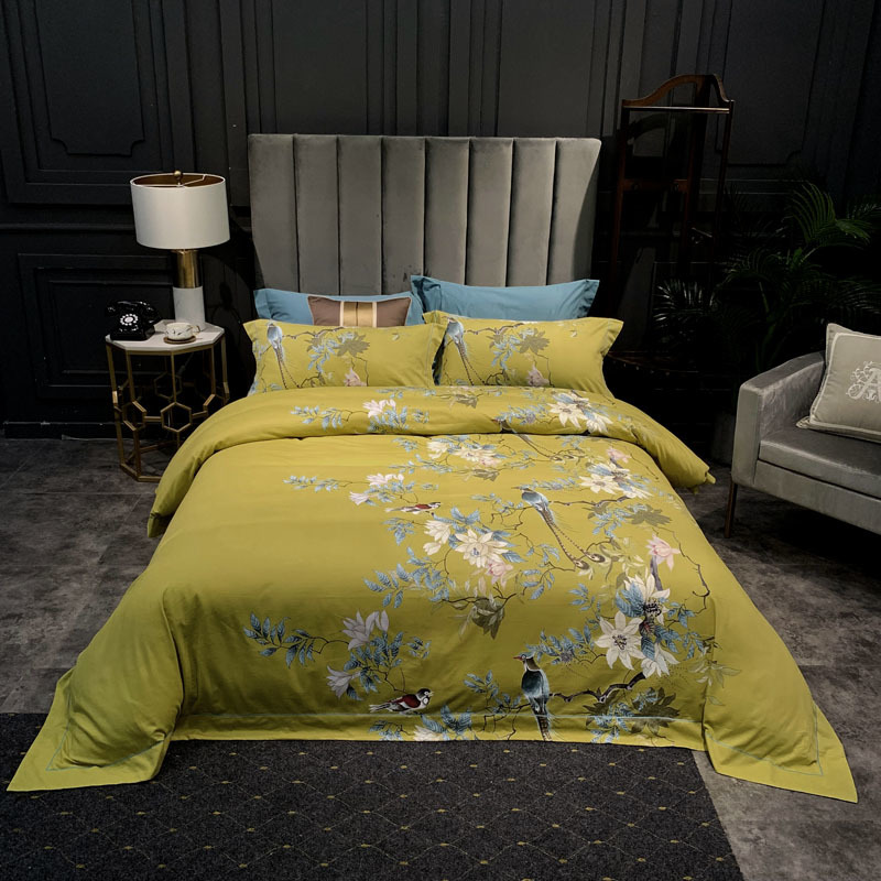 Chinoiserie Blossom Tree Branches Birds Duvet Cover Set Brushed Cotton Warm Bedding set Soft Flat Bed sheet Queen King size 4cs