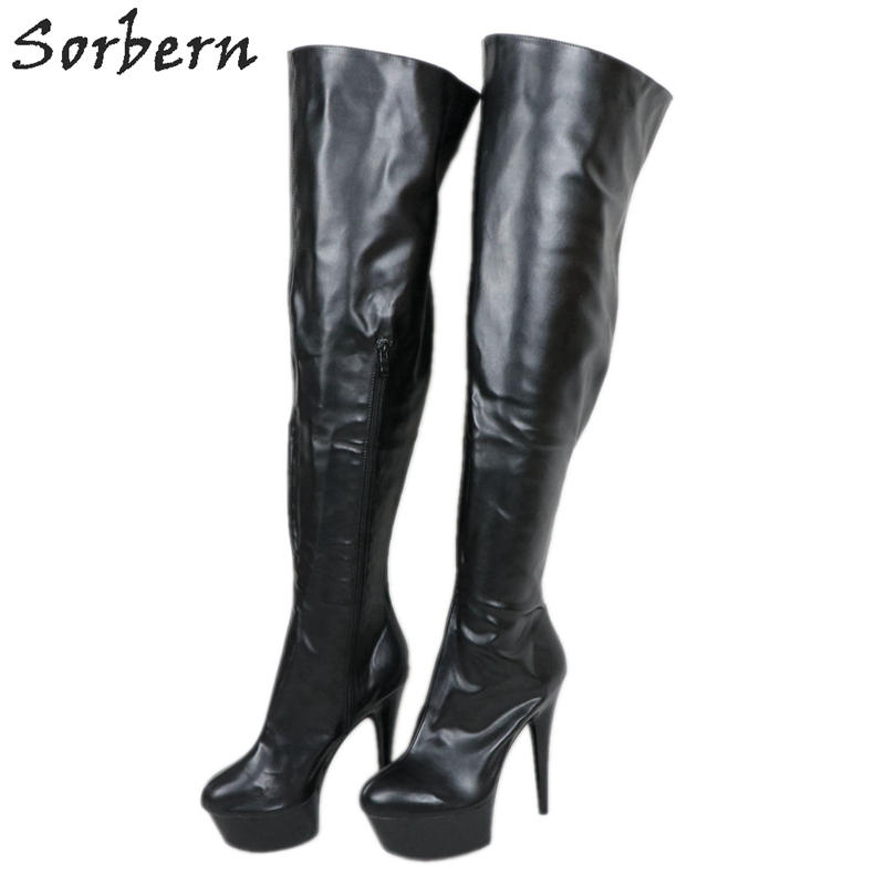 Sorbern Matt Black 6Inch Heels Boots Over The Knee Mid Thigh High Stripper Pole Dance Boot High Heel Platform Shoes Custom Color
