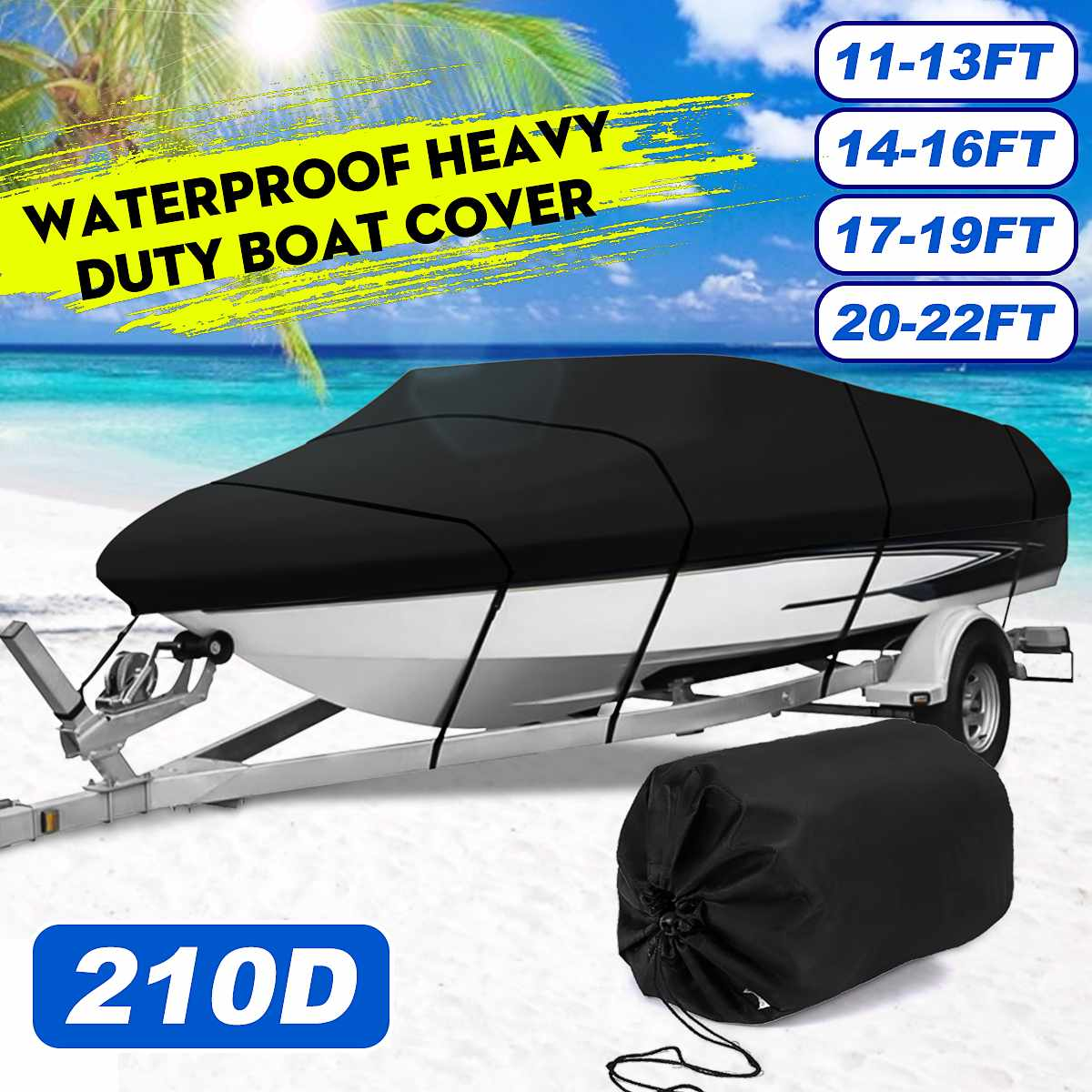 11-13ft 14-16ft 17-19ft 20-22ft 210D Marine Grade Boat Cover Sunproof Anti UV Premium Heavy Duty Trailerable Canvas Black