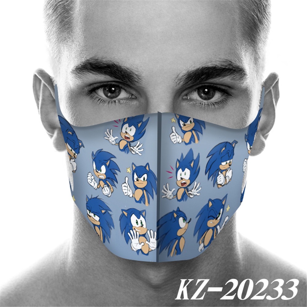Cartoon Full Printed Sonic The Hedgehog Mask Breathable Reusable Anti Pollution Wind Proof