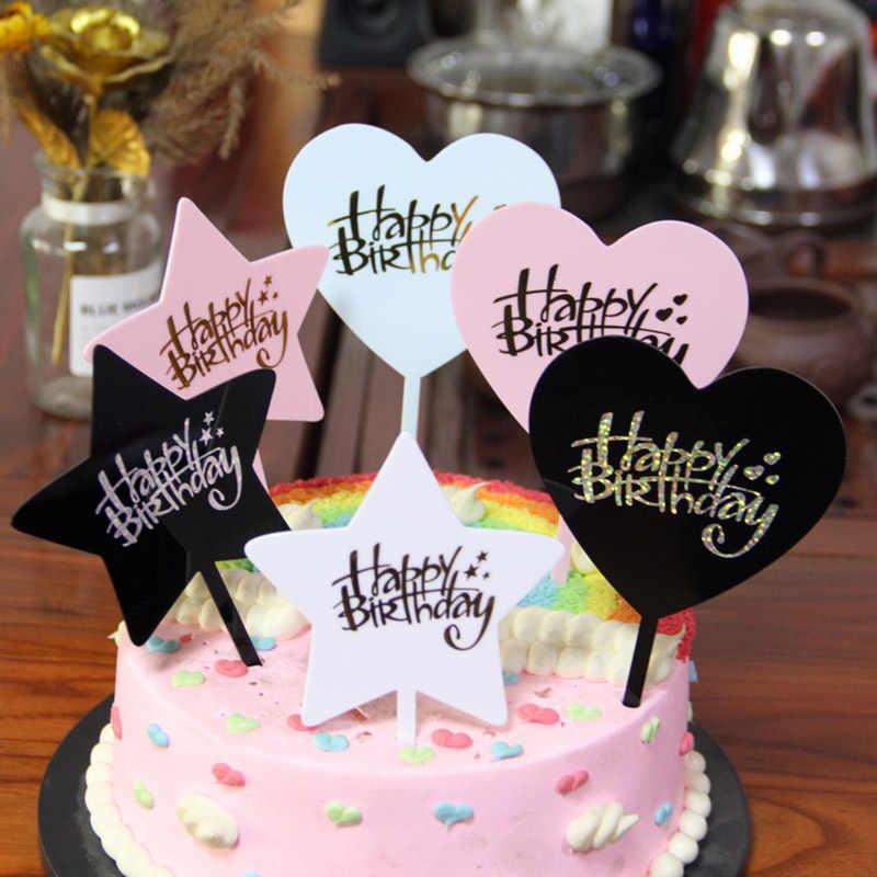 Stupendous Happy Birthday Cake Toppers Round Heart Star Shape Acrylic Cake Funny Birthday Cards Online Fluifree Goldxyz
