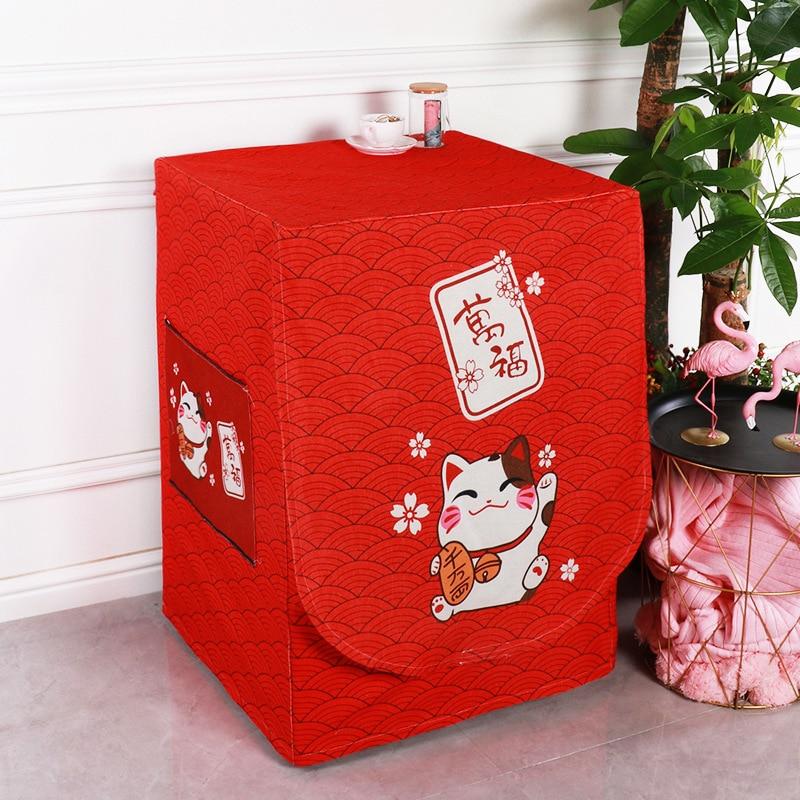 SRYSJS Washing Machine Cover Cartoon Waterproof  Linen Fabric Washer Automatic Drum Sunscreen Case Home Dustproof