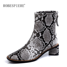 ROBESPIERE Brand Genuine Leather Cowboy Ankle Boots for Women Wedge High Heel Shoes 2019 Snake Print Western Cowgirl B134