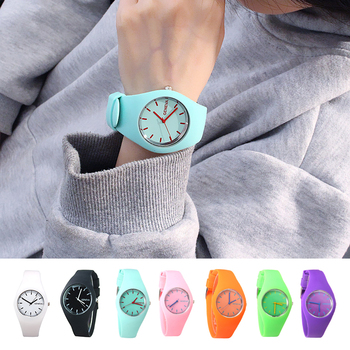 Trendy Personality Candy Color Watch Casual Sports Silicone Solid Color Quartz Movement Wrist Watch super speed v6 v0180 racer quartz movement wrist watch for man black brown white