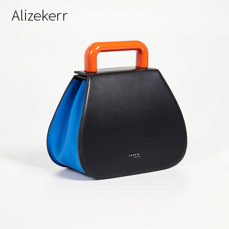 Acrylic Handle Saddle Bag Female Summer New Chic Panelled Color Blocking Tote Luxury Handbags Women Bags Designer Simple Casual