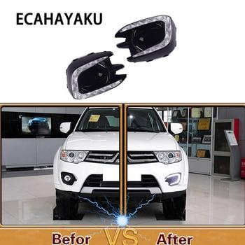 ECAHAYAKU car-styling DRL For Mitsubishi Pajero Sport 2013 - 2015 LED DRL Daytime driving Running Light Daylight fog lamp hole
