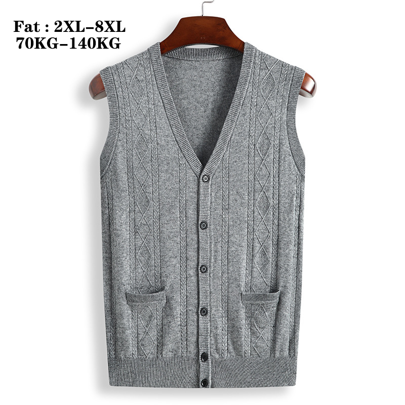 QUANBO 2019 Spring Autumn New Plus Size Men's Sleeveless Wool  Cardigan Fat Loose Casual V-neck Knitwear Cardigan Sweater 8XL