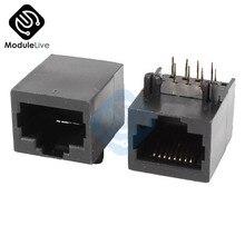 Connecteurs réseau Internet RJ45 8P8C, 10 pièces, Module Jack, noir, 8 broches, montage sur PCB