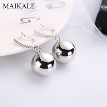 MAIKALE Classic Drop Earrings Big Round Ball Pendant Gold Silver Color Copper Cubic Zirconia Fashion Jewelry Women Gift