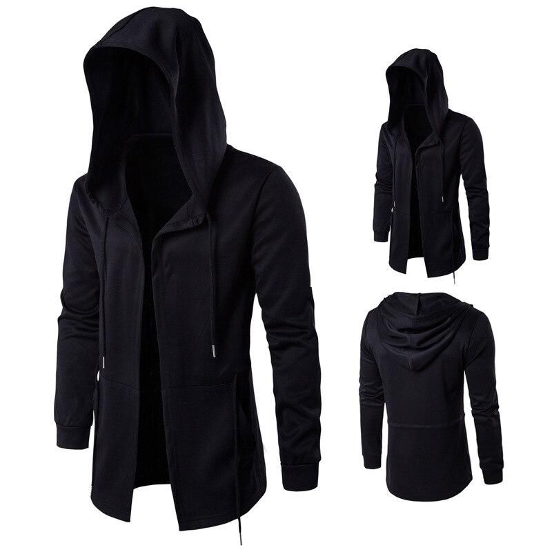 Men Caps Hooded Men Trench Male Coat Casual Long Black Gothic Style Outwear Jacket Tops Men Streetwear Plus Sizes Windbreaker