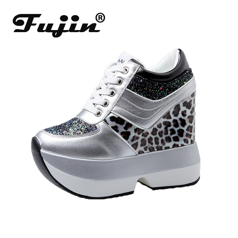 Fujin Casual High Platform Shoes Women Breathable Height Increasing Shoes Thick Sole Trainers Sneakers Women Deportivas Mujer