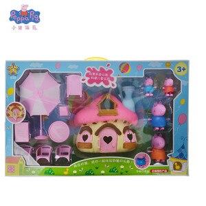 Figuras originales de peppa pig, regalo de cumpleaños con motivo de cerdo rosa, niña pequeña, casa de simulación, seta, fiesta, personaje, niño y niña