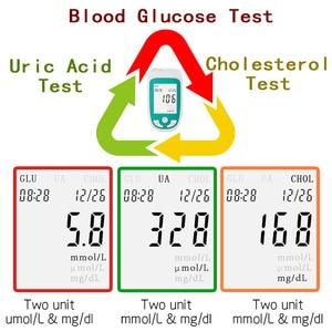 Image 2 - 3in1 Multifunctionele Cholesterol Urinezuur Bloedglucosemeter Glucometer Kit Diabetes Jicht Tester Blood Sugar Monitor Test Strips