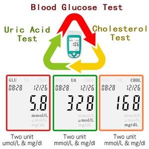 Image 2 - 3in1多機能コレステロール尿酸血糖計の血糖計キット糖尿病痛風テスター血糖モニターテストストリップ
