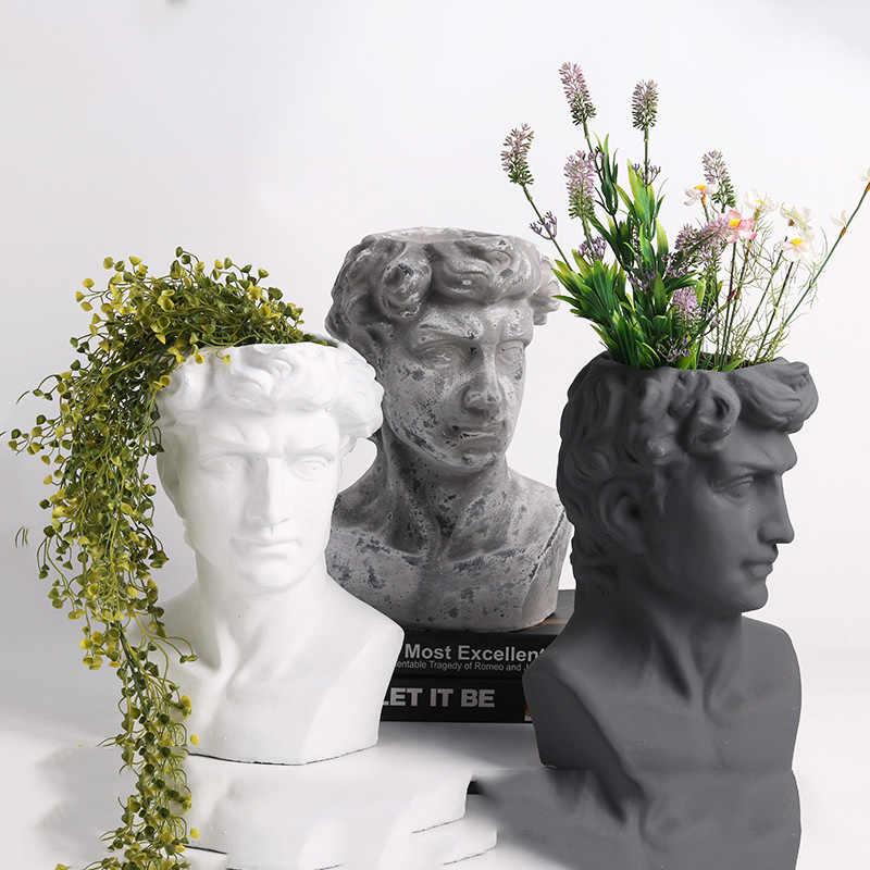 European Cement David Sculpture Portrait Plaster Statue Vase Succulent  Plant Flower Pot Livingroom Home Office Decoration Crafts|Flower Pots &  Planters| - AliExpress