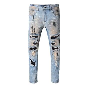 Fashion Streetwear Men Jeans Retro Blue Paint Destroyed Ripped Jeans Men Punk Pants Patchwork Designer Hip Hop Jeans Homme fashion streetwear men jeans white slim fit destroyed ripped jeans men patchwork elastic denim punk pants hip hop jeans homme
