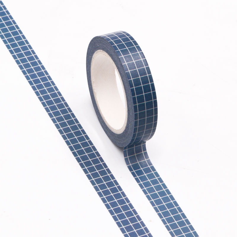 10pcs/lot Decorative Dark Blue Lattice Japanese Washi Tapes Paper DIY Scrapbooking Planner Adhesive Masking Tapes School Supply