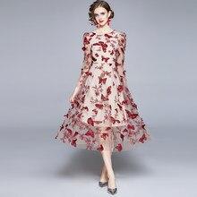 Zuoman mulheres de luxo bordado vestido festa feminina alta qualidade longa elegante festa robe femme designer do vintage malha vestidos