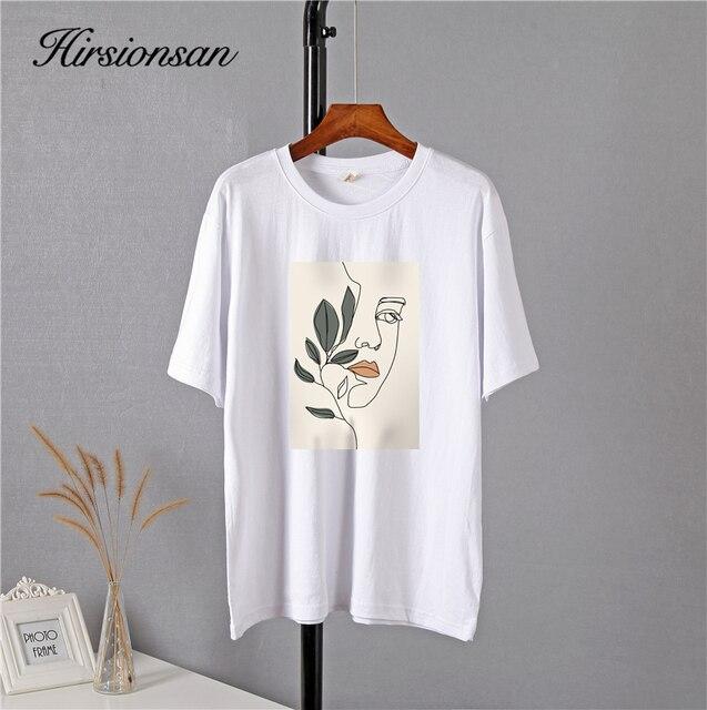 Свободная женская футболка хлопковая высокого качества с изображением 2