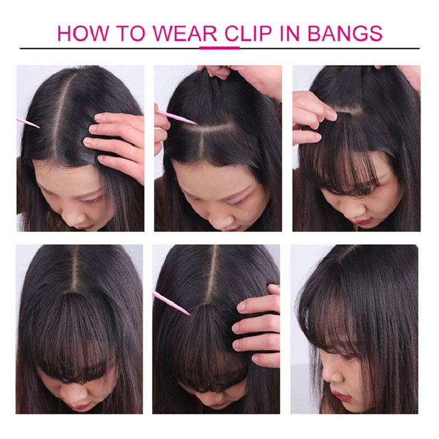 Ali Julia Air Bangs For Women Clip In Hair Extensions Brazilian Human Hair Bangs Remy Replacement Fringe Hairpiece (2)