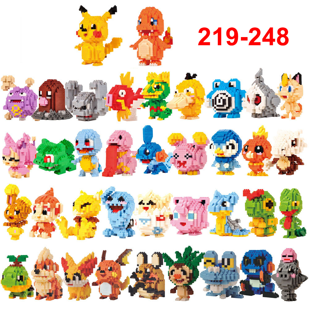 Mini Building Blocks Mini Cartoon Pikachu Animals Model Educational Games Figures Bricks Compatible with Legoe Toys for Children