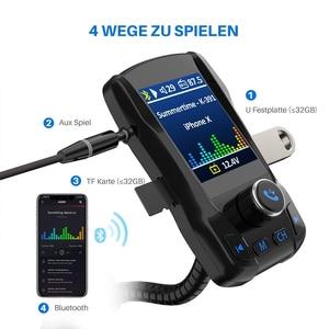 Image 5 - Chargeur de voiture sans fil Bluetooth Kit mains libres 350 rotatif voiture MP3 Audio 5V 2.1A double USB Charge couleur écran FM transmetteur