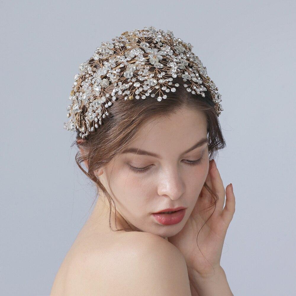 TRiXY H240-G wholesale Stunning wedding headpiece rhinestone wedding hair accessories bridal crown luxury bridal crown and tiara