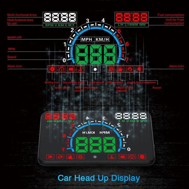 Фото автомобильный универсальный hud head up display obd2 скоростной