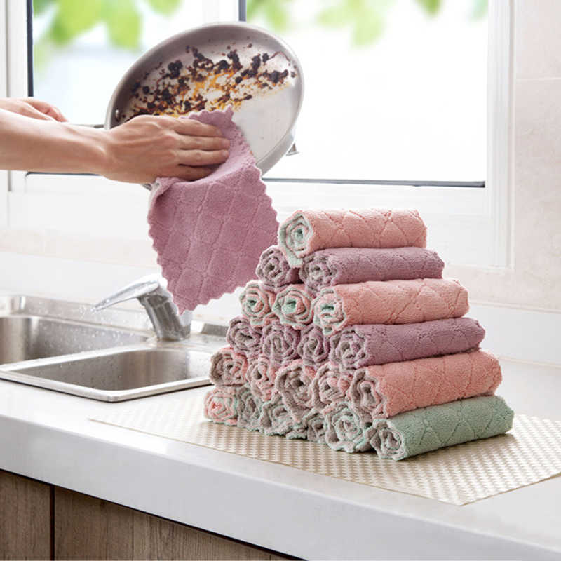 1/10pcs Super Absorbent Microfiber Kitchen Dish Cloth High-efficiency Tableware Household Cleaning Towel Kitchen Tools Gadgets