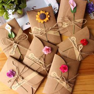 Greeting-Card Invitation Envelopes Kraft-Paper Flower Wedding Retro DIY 10pcs with Handmade