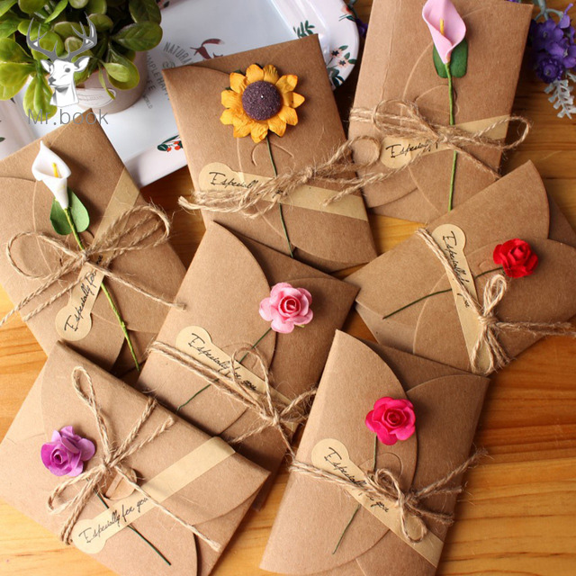 10pcs Retro DIY Kraft Paper Invitation Greeting Card With Envelope Handmade Dry Flower Wedding Party Invitation Envelopes