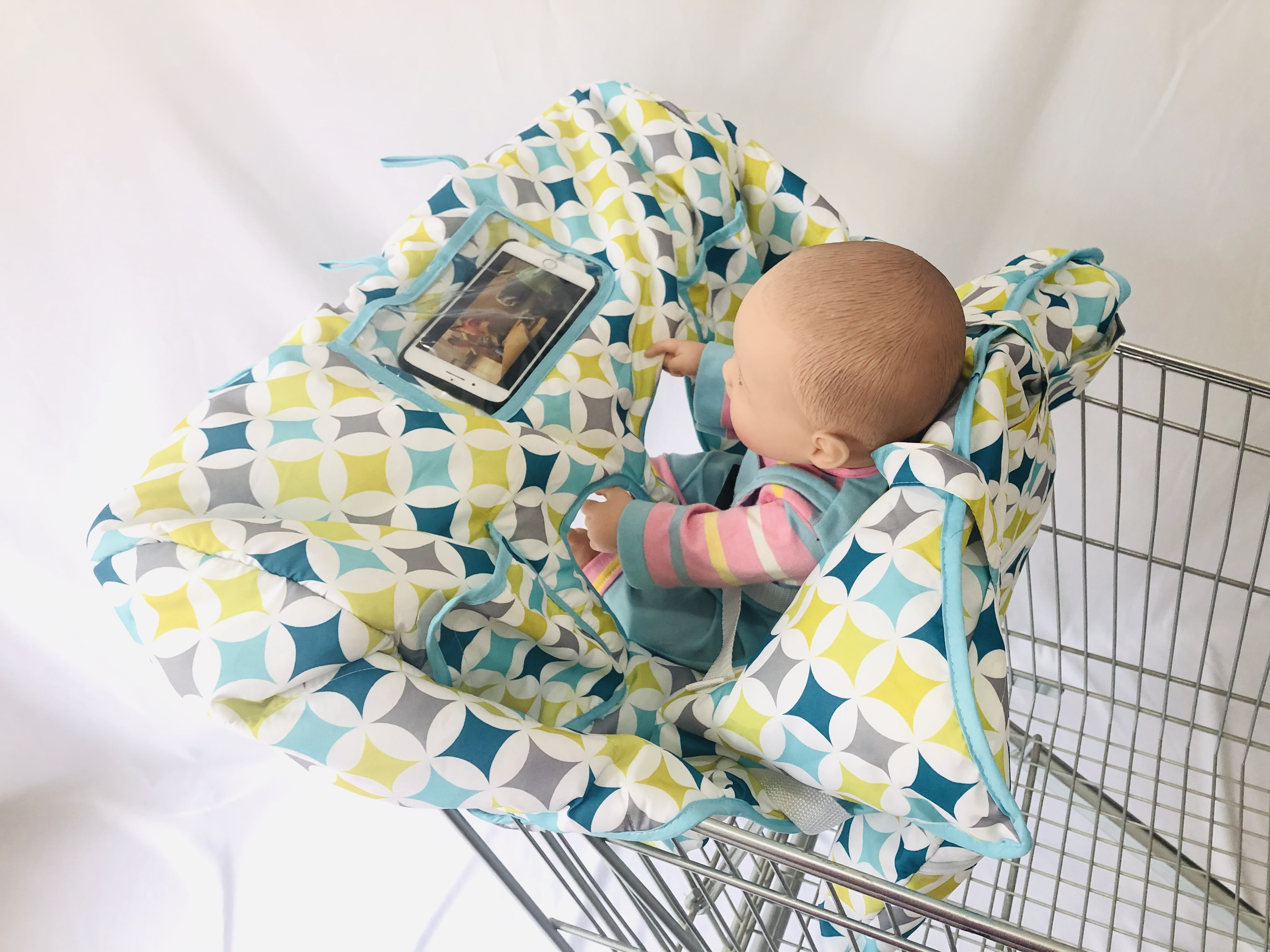 4 or 2 Leg Holes X-Large Size with Elastric Yellow Flower Cushion for Twin Double Shopping Cart Cover for Baby Siblings
