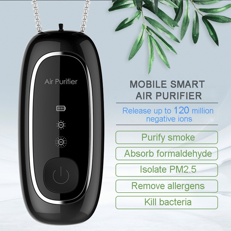 Fashion Personal Wearable Air Purifier Necklace Mini Portable Air Freshener Ionizer Negative Ion Generator Black air purifier 1