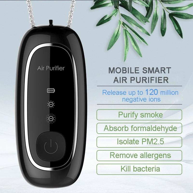 Fashion Personal Wearable Air Purifier Necklace Mini Portable Air Freshener Ionizer Negative Ion Generator Black air purifier 1