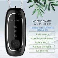 Moda pessoal wearable purificador de ar colar mini portátil purificador de ar ionizador gerador íon negativo preto