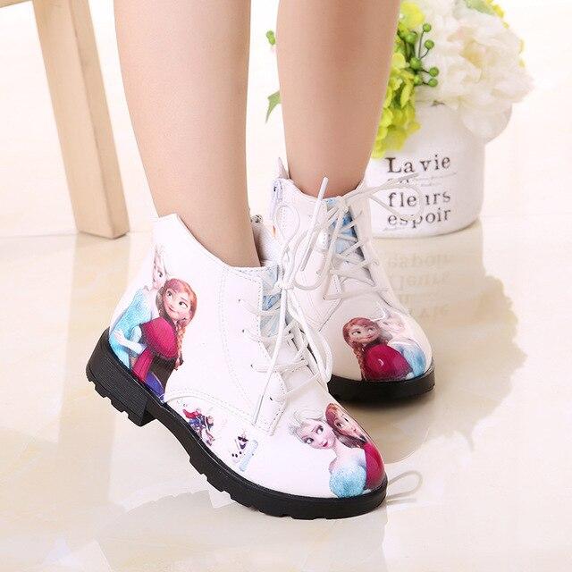 สาวฤดูหนาวรองเท้า ICE และ Snow Princess รองเท้ารองเท้าสั้นรองเท้าเด็กการ์ตูนเด็ก Snowfield หนัง Martin BOOTS รองเท้าเด็ก